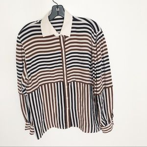 Vintage Escada Multi Stripe Silk Blouse